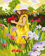 """Акриловий живопис за номерами """"Аліса з квітами"""" полотно 40*50 см без коробки ТМ Ідейка"""
