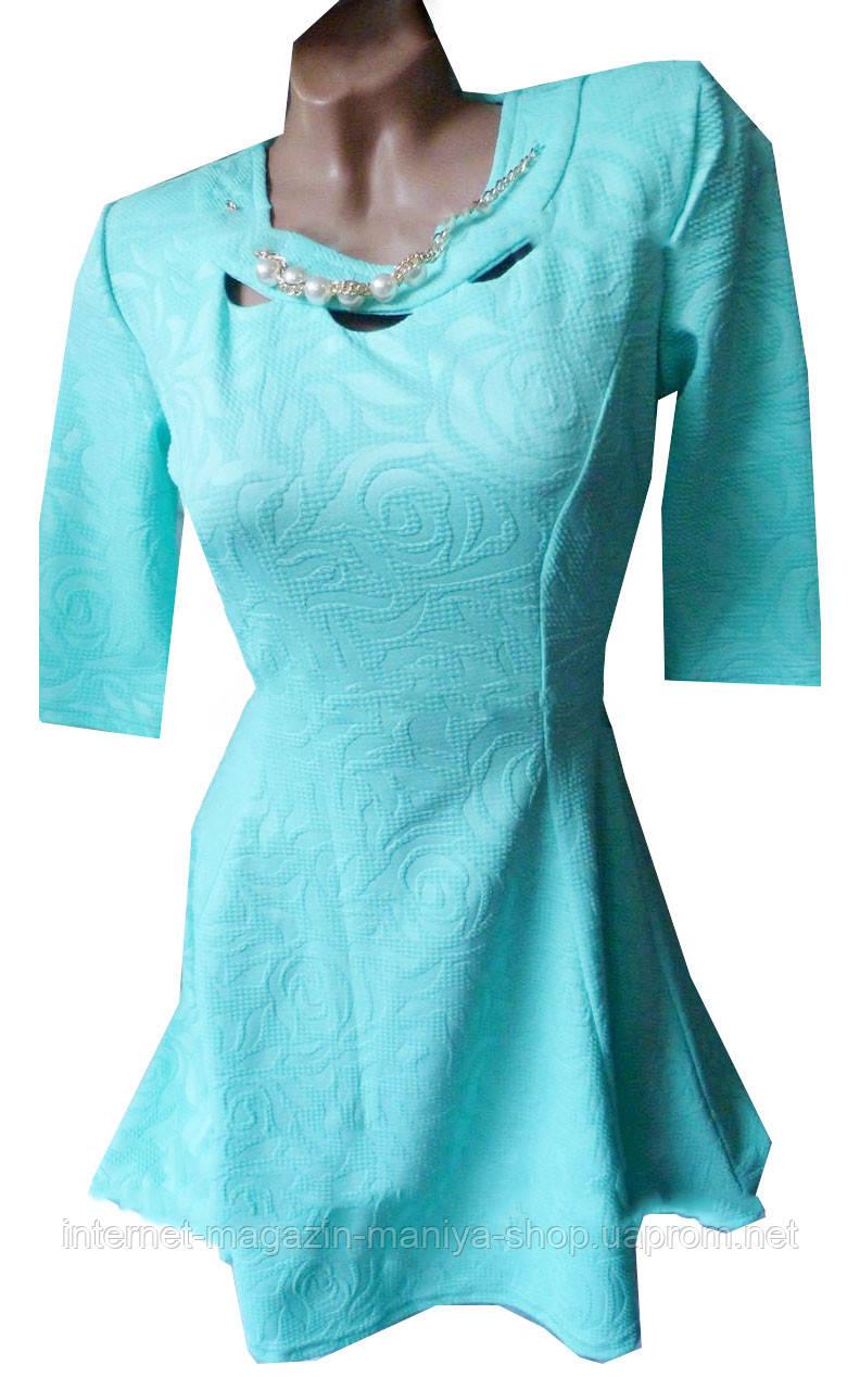 Платье женское 0580 розы с украшением (деми)