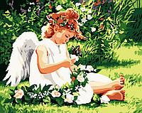 """Акриловий живопис за номерами """"Ангелок з метеликом"""" полотно 40*50 см без коробки ТМ Ідейка"""