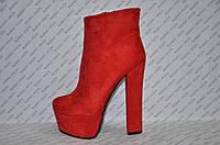 Ботильоны стильные модные на толстом высоком каблуке замшевые красные