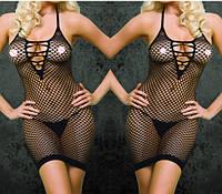 Сексуальное платье сеточка с интересным вырезом