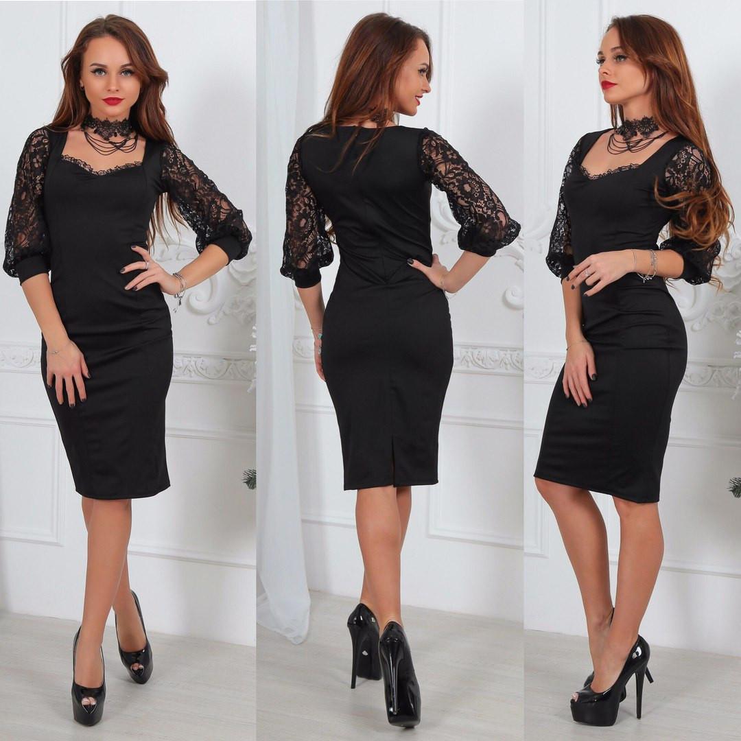 Платье элегантное,рукав гепюр,ткань микродайвинг +кружевор - ры - 1 (40-42) и 2 ( 44-46)длина - 1 м