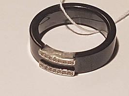 Серебряное кольцо с керамикой и фианитами. Артикул К2ФК/1012-Д(З)