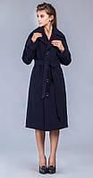 Пальто с боковыми шлицами темно-синее
