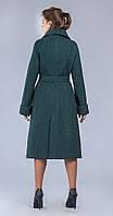 Пальто длиное с поясом темно-зеленый