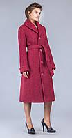 Пальто длиное с поясом темно-розовый