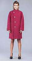 Пальто прямое темно-розовое