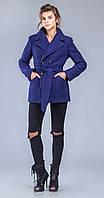 Пальто двубортное с поясом синее