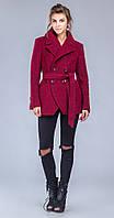 Пальто двубортное с поясом бордо
