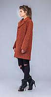 Пальто прямое с воротником рыжее