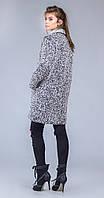 Пальто прямое с воротником серый меланж