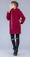 Пальто на замке бордо