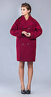 Бордовое пальто оверсайз с отложным воротником 44 весна/осень