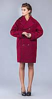 Бордовое пальто оверсайз с отложным воротником