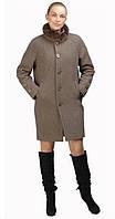 Пальто-боченок с мехом серо-коричневое