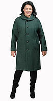 Пальто прямое с круглым воротником темно-зеленое