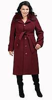 Пальто зимнее с песцовым воротником и поясом красное