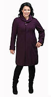 Пальто-боченок с круглым воротником фиолетовое