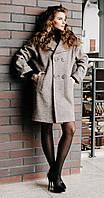 Пальто двубортное свободного кроя серо-коричневый меланж
