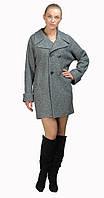 Пальто двубортное свободного кроя серый