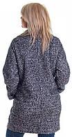 Пальто двубортное свободного кроя серый меланж