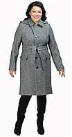Пальто со сьемным капюшоном серое