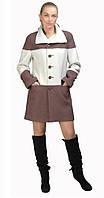Пальто с горизонтальными карманами на талии бело-коричневое