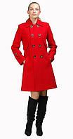 Пальто классическое двубортное красное