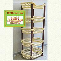 Пластиковая этажерка LUX на 5 ярусов, кофейно-коричневая