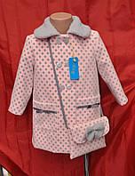 Пальто для девочки на весну и осень р.98,104,110,116 без утеплителя, в комплекте сумочка