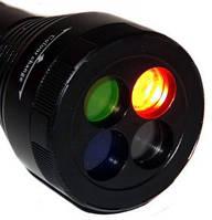 Фонарик с светофильтрами BL 9842, Фонарь ручной Bailong,  фонарик на батарейках, фонарик с цветными линзами