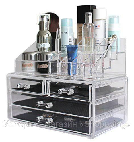 Cosmetic storage box, Органайзер для косметики акриловый, пластиковый органайзер для косметики, акриловый ящик - Интернет-магазин «Shoppping» в Днепре