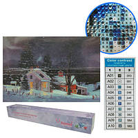 """Картина бриллиант """"Зима в деревне"""", рулон, 20x30"""