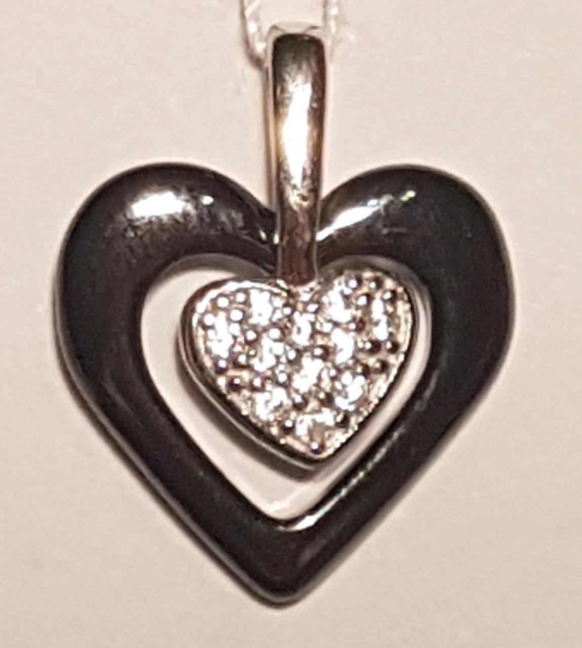 Серебряная подвеска «Сердце» с керамикой и фианитами. Артикул ПК2ФК/1010