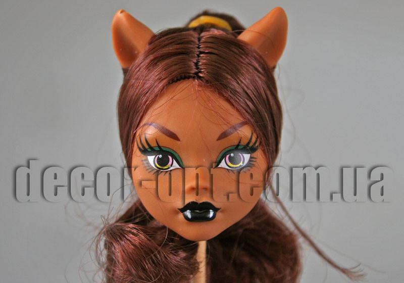 Голова куклы Монстер Хай с ушками и коричневыми волосами 10,0 см