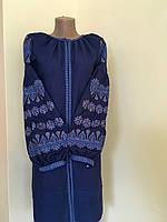 Синя сукня вишита в стилі Бохо на льоні, фото 1