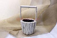 Декоративная корзина/кашпо из натурального дерева №JL-C16-0916G - Белая