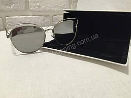 Солнцезащитные очки Dior зеркальные с чёрной дужкой D1174