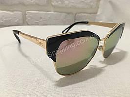 Солнцезащитные очки Dior зеркальные хамелеон с золотистыми дужками D8007