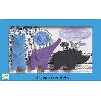 DJECO Набор фигурное пастели: медведь, слон, носорог