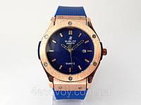 Часы мужские HUBLOT - Big Bang каучуковый синий ремешок, цвет корпуса часов золото