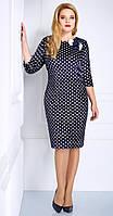 Платье для женщин Matini-31042 белорусская одежда цвета темно-синий+горошек