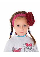 Повязка на голову детская (бардовый пион)