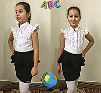 """Школьная детская блуза для девочки """"Ruzanna"""" с рюшами и коротким рукавом"""