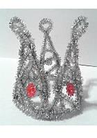 Корона из серебряного дождика со стразами