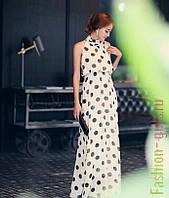 Длинное летнее  платье с воротником-стойка