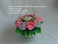 """Небольшой букет роз из конфет """"Акварель""""№9"""