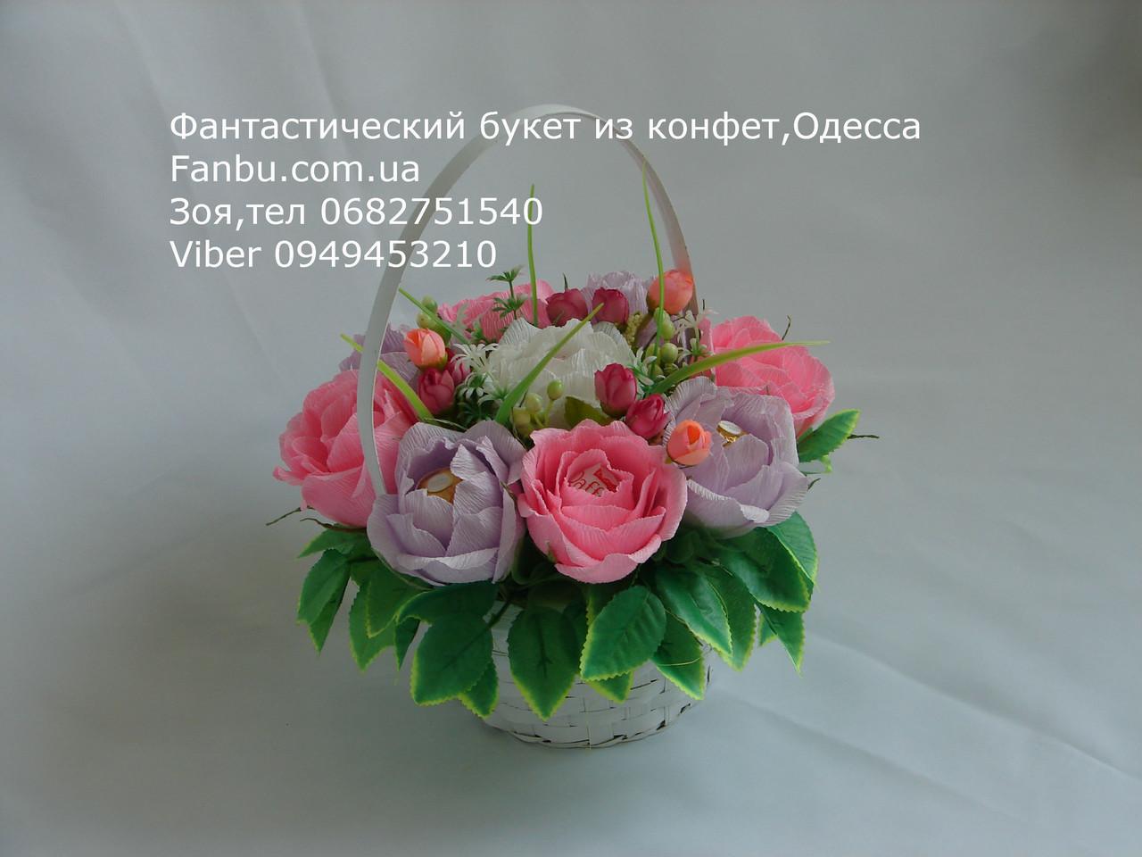 """Небольшой букет роз из конфет """"Акварель""""№9, фото 1"""