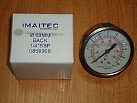 Манометр 0-10bar осевой общетехнический виброустойчивый (глицеринонаполненный)