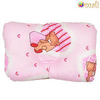 Ортопедическая подушка для новорожденных (розовая)